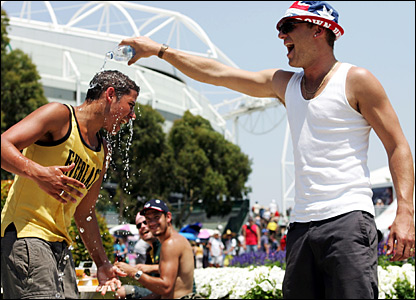 Spectators cool down in Garden Square