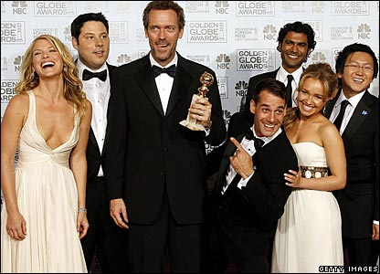 Hugh Laurie (third from left) and the cast of Heroes