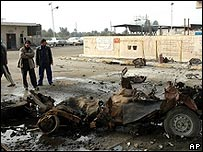 The aftermath of a car bombing