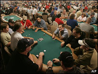 A hall filled with poker players