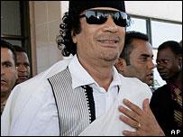 Libyan leader Colonel Muammar Gaddafi in Accra