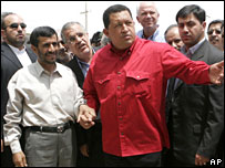 Iranian President Mahmoud Ahmadinejad and Venezuelan President Hugo Chavez in Iran.