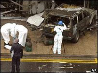 Scene of the car bomb at Glasgow Airport