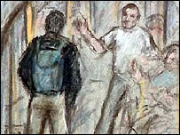 Court drawing of CCTV footage shown to the jury