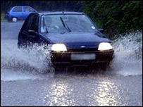 Car in flooding [generic]