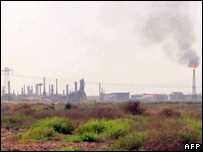 An oil refinery in the southern Iraqi city of Basra