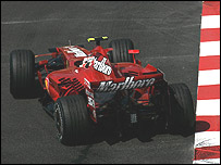 Kimi Raikkonen gets his Ferrari sideways at Monaco