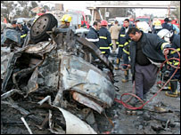 Scene of blast outside Mustansiriyah University, Baghdad