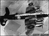 RAF Lancaster bomber in flight