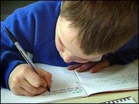 Boy writing