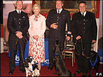 Princess Alexandra and the search dogs with their handlers