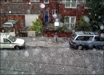 Hailstorm in London. Copyright Amanda Ellis