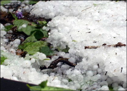 Hailstorm in Parsons Green. Copyright Diederic Cook
