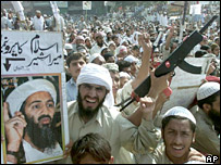 Pro-Bin Laden rally in Orangi, Pakistan, Oct 2001