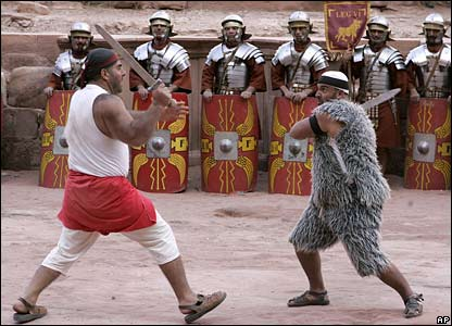 Jordanian actors dressed as Roman gladiators in the theatre in Petra