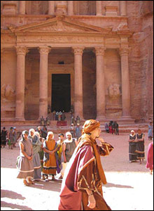 Jordanians dressed as Nabateans outside the Treasurer's House at Petra