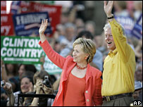 Hillary and Bill Clinton in Des Moines, Iowa, 2 July 2007
