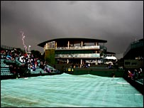 The gloomy scene at Wimbledon on 2 July