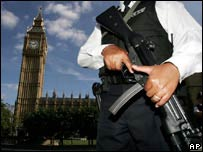 An armed police officer outside Parliament