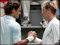 Roger Federer and Jonas Bjorkman