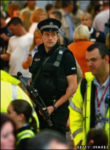 Armed officer at Glasgow Airport