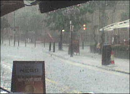 Hail storm in south London: copywrite Ewa S-R.