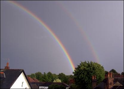 A rainbow pictured following the hail stom. Copywrite Justin Bedford.