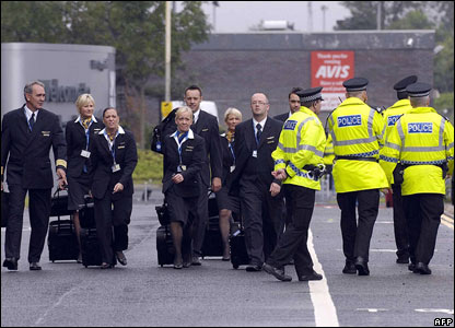 Air crews and police at Glasgow Airport