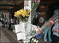 Floral tribute at Hamworthy railway station