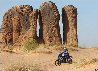 Cyril Depres rides his KTM on the ninth stage of the Dakar Rally between Tichit and Mauritania