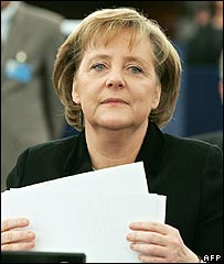 German Chancellor Angela Merkel at the European Parliament