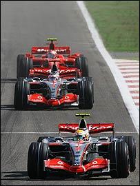 Lewis Hamilton leads Fernando Alonso and Kimi Raikkonen