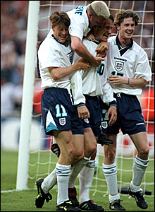 Teddy Sheringham (second left) is congratulated by (l-r) Darren Anderton, Paul Gascoigne and Steve McManaman after scoring his second goal in the 4-1 win over Holland at Wembley during Euro 96