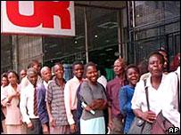 Zimbabweans queuing