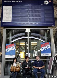 German commuters at a railway station in Wiesbaden, Germany