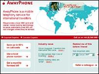 Screen shot of AwayPhone's website