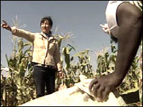 A Zambian woman is given instructions by a Chinese worker