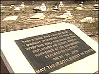 Graves of 46 Zambian mine workers who died at Chambishi mine in Zambia's Copperbelt