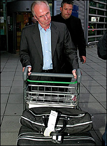 Sven-Goran Eriksson arrives at Manchester Airport