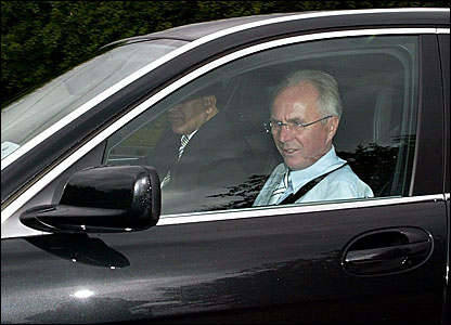 Sven-Goran Eriksson arrives at Manchester City's training ground