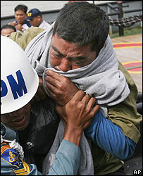 Ferry survivor arrives at the port of Surabaya, Indonesia, on 3 January 2007
