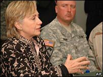 Sen Hillary Clinton talks with US forces during a recent visit to Kabul