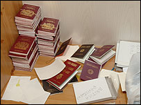 Passports recovered in the raid