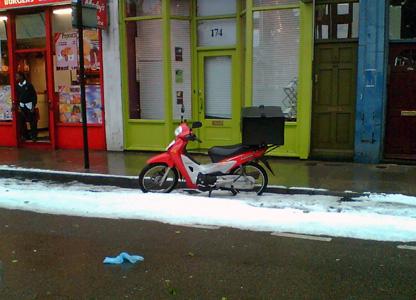 Icy London street scene