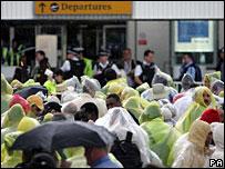Passengers outside Terminal 4
