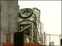 Collapsed crane in Liverpool