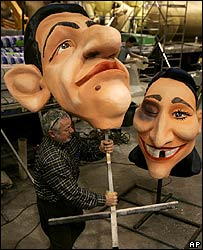 Puppets of Nicolas Sarkozy and Segolene Royal