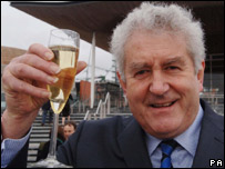 Rhodri Morgan celebrating the announcement in Cardiff on Wednesday