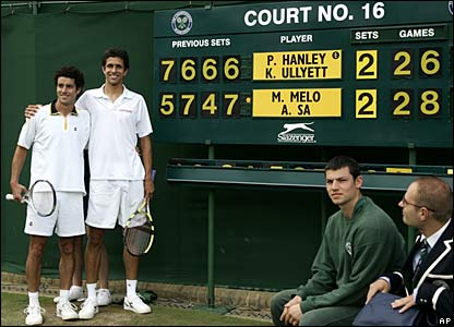 Brazilians Marcelo Melo and Andre Sa win a marathon doubles game against Kevin Ullyett and Paul Hanley