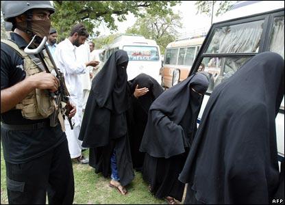 Female students led away